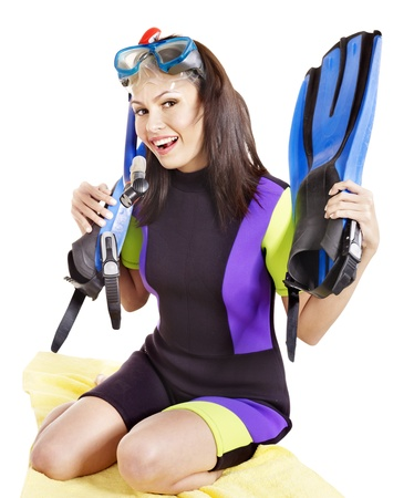 scuba woman: Girl wearing diving gear.  Isolated.