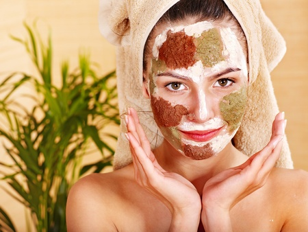 exfoliate: Natural homemade clay  facial masks at home .  Stock Photo