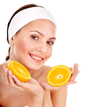 exfoliate: Natural homemade fruit  facial masks . Isolated. Stock Photo