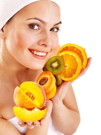 skincare facial: Natural homemade fruit  facial masks . Isolated. Stock Photo