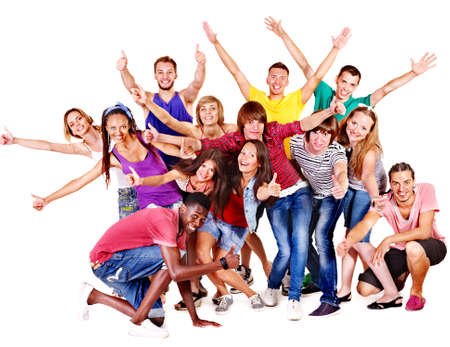 young people group: Group people  Isolated.