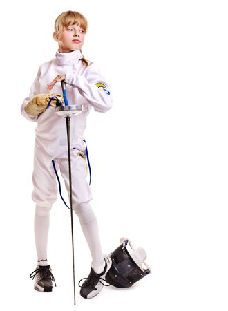 Child in fencing costume holding epee . Isolated. Stock Photo - 12340818