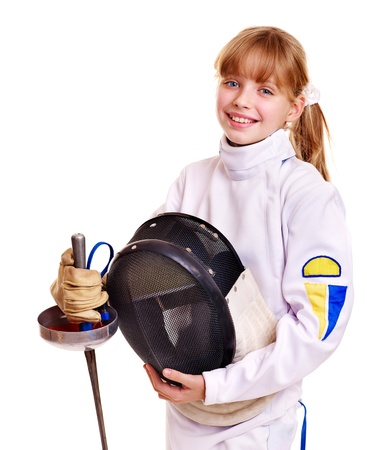 fencing: Child in fencing costume holding epee . Isolated.