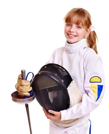 esgrima: Ni�o en traje de espada de esgrima explotaci�n. Aislado. Foto de archivo