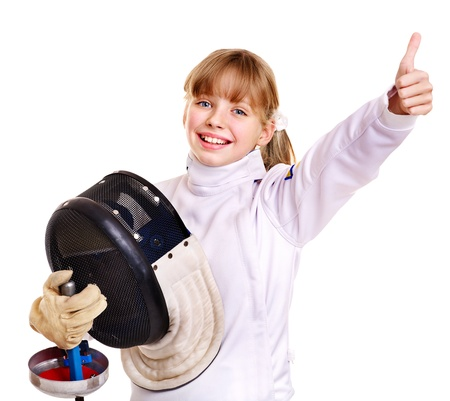 Child in fencing costume holding epee thumb up. Isolated. photo