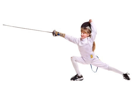 fencing foil: Child epee fencing lunge. Isolated.
