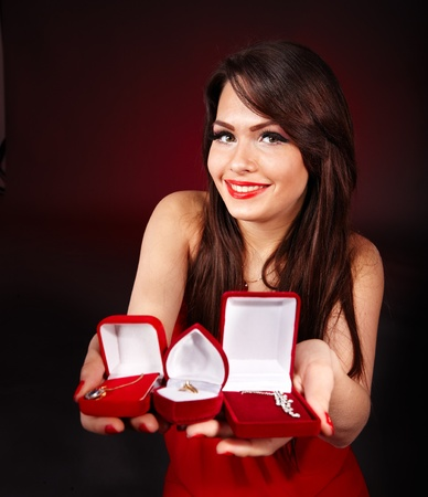 jewel box: Girl holding jewellery gift box.  Valentines day. Stock Photo