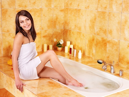 Young woman take bubble  bath. Stock Photo - 12341170