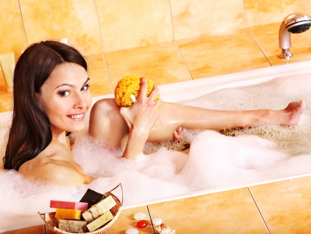 Young woman take bubble  bath. Stock Photo - 12341102