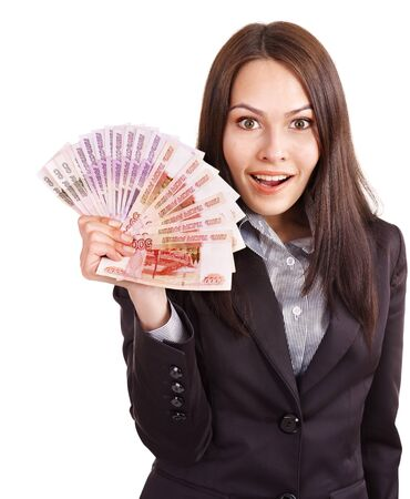 ruble: Woman with  money. Russian rouble. Isolated. Stock Photo