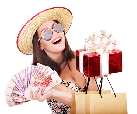 Woman with  money Russian rouble , gift box and shopping bag. Stock Photo