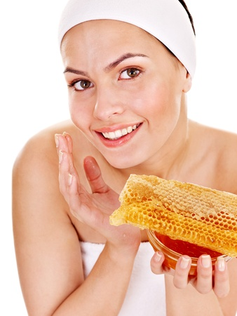 Natural homemade organic  facial masks of honey. Isolated. photo