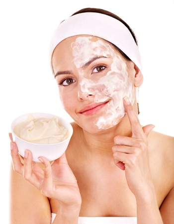 exfoliate: Natural homemade organic  facial masks of honey. Isolated.