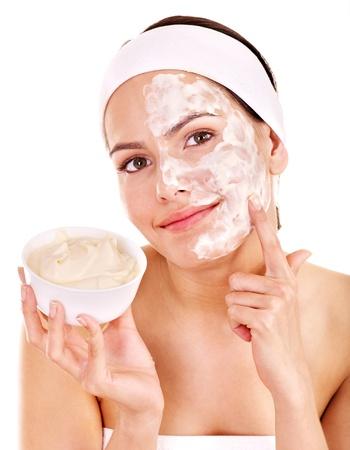 face lift: Natural homemade organic  facial masks of honey. Isolated.