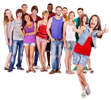 multi racial groups: Multi-ethnic group people.  Isolated. Stock Photo