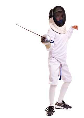 Child epee fencing lunge. Isolated. photo