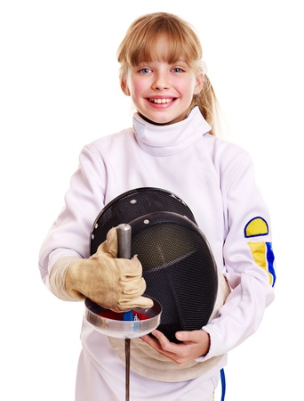 fencing sword: Child in fencing costume holding epee . Isolated.