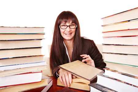 Student girl reading book.  Isolated. photo