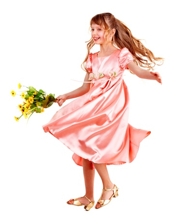 little girl dancing: Beautiful girl with spring flower. Isolated.