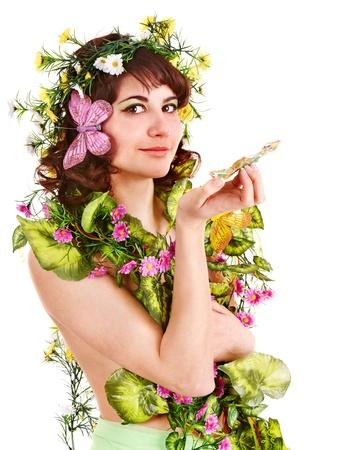 donna farfalla: Ragazza in primavera, acconciatura e trucco fiori azienda. Archivio Fotografico