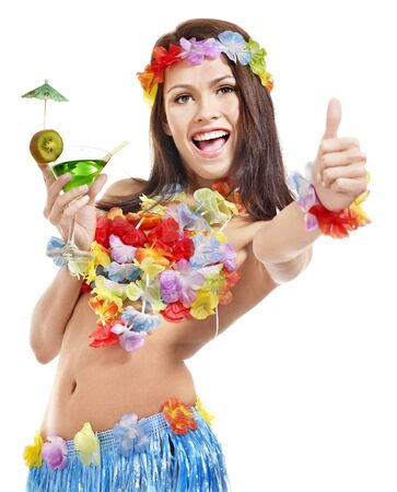 Woman in hawaii costume drink  juice. Isolated. photo