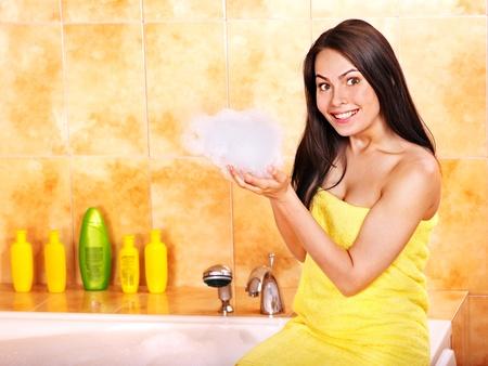 Young woman take bubble  bath. Stock Photo - 12753078