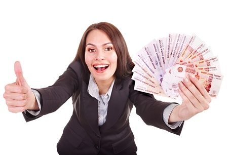 woman holding money: Woman with  money Russian rouble. Isolated.
