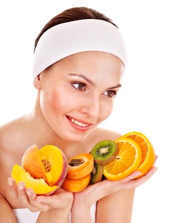 healthy skin: Natural homemade fruit  facial masks . Isolated. Stock Photo