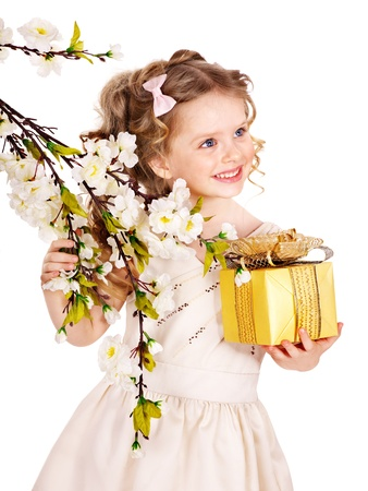 Little girl with spring flower . Isolated. Stock Photo - 12753300
