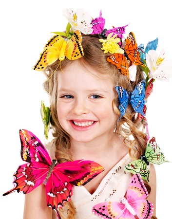 Little girl in spring hairstyle and butterfly. Isolated. Stock Photo - 12753303