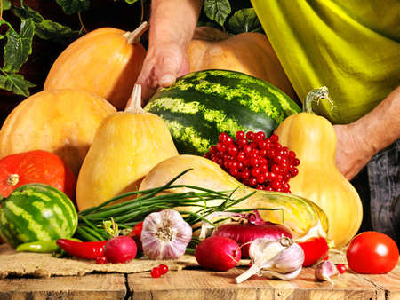 Preparing fresh vegetable on wooden boards. photo