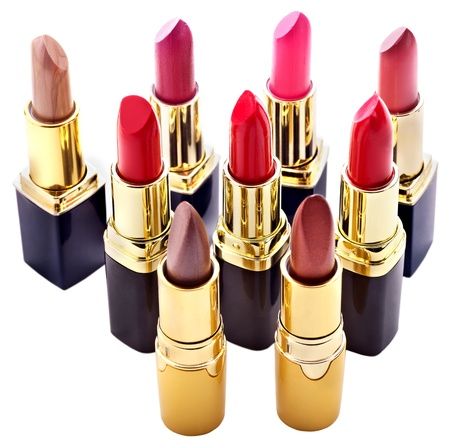 cosmetologies: Lipstick group. Decorative cosmetics. Isolated. Stock Photo