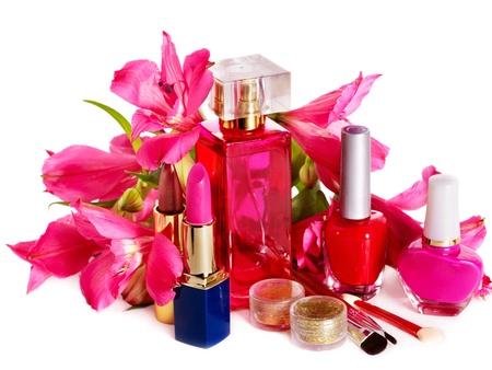 eau de toilette: Decorative cosmetics and perfume. Isolated. Stock Photo
