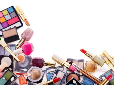 cosmetics collection: Decorative cosmetics for makeup. Copy space. Stock Photo