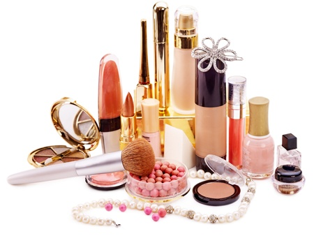 cosmetologies: Decorative cosmetics for makeup. Close up. Stock Photo