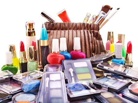 Decorative cosmetics in makeup box. photo