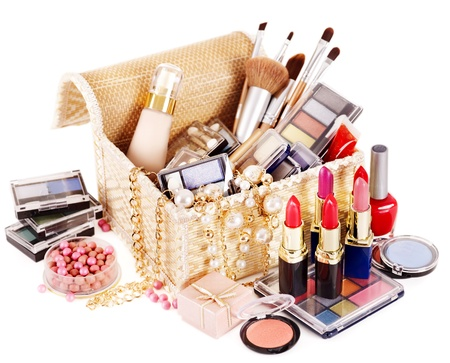 herbera: Decorative cosmetics in makeup box.