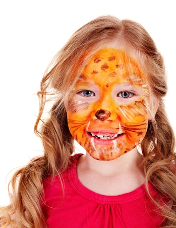 face paint: Children with paint of face. Make up.