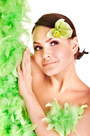 feather boa: Beautiful girl with orchid flower. Isolated.