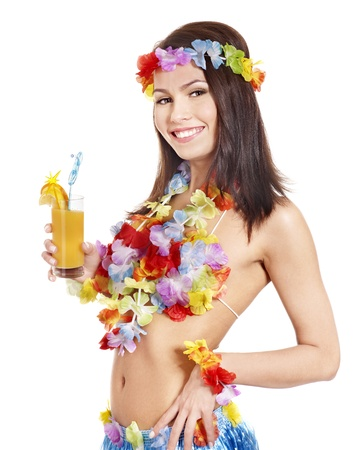 Young woman in  costume of hawaii. photo