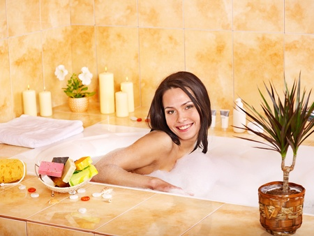 Young woman take bubble  bath. Stock Photo - 13259015