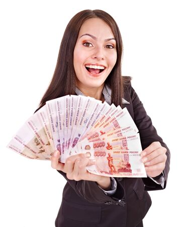 fantail: Woman with  money  Russian rouble. Isolated.
