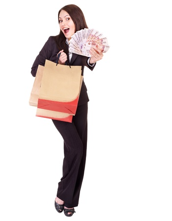 woman holding money: Woman with  money Russian rouble and shopping bag. Isolated.