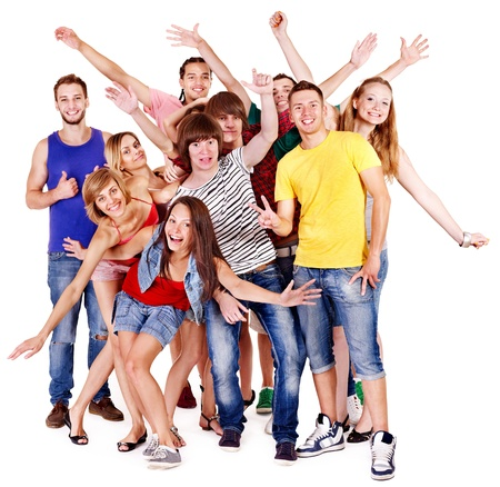 Happy group young people.  Isolated. Stock Photo - 13258642