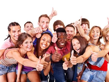 multi ethnic: Multi-ethnic group people.  Isolated. Stock Photo