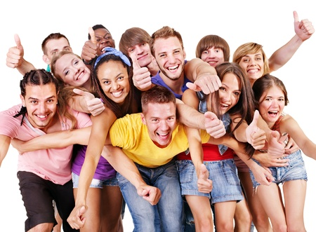 Happy group young people.  Isolated. photo