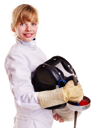 Child in fencing costume holding epee . Isolated. photo