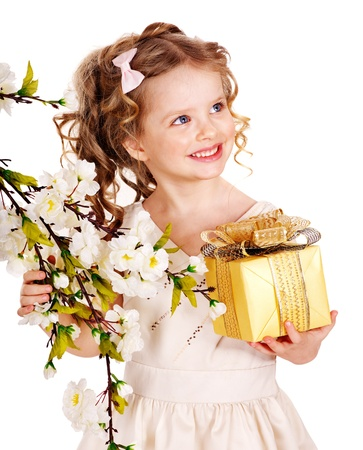 Little girl with spring flower . Isolated. Stock Photo - 13259119