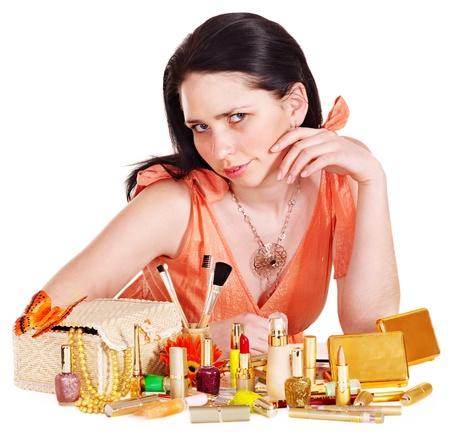 Girl applying makeup. Isolated. Stock Photo - 13258939