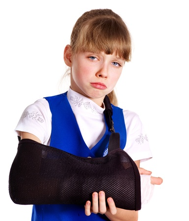 Broken arm in a cast. Isolated. photo